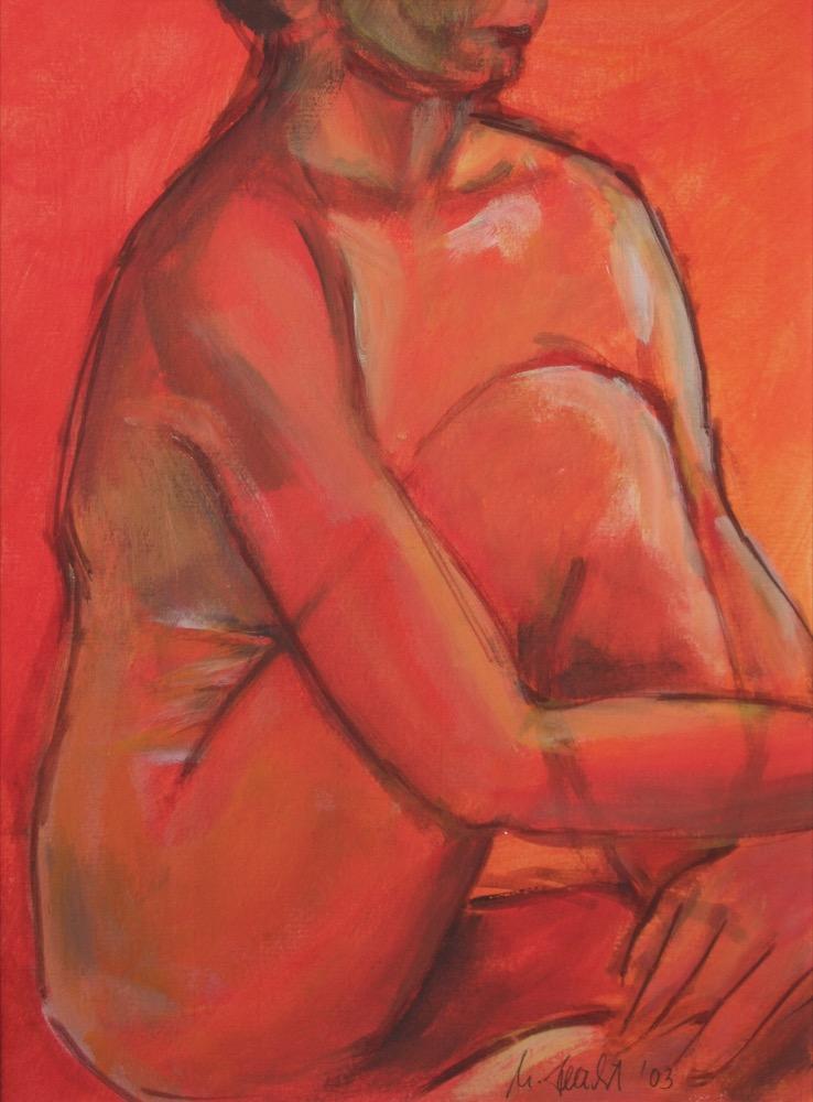 Sitzende Frau in rot (transparent) (178)