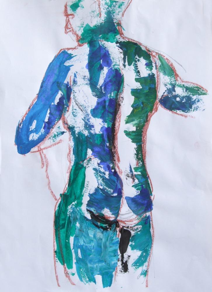 Stehender grün-blau, wild (170)