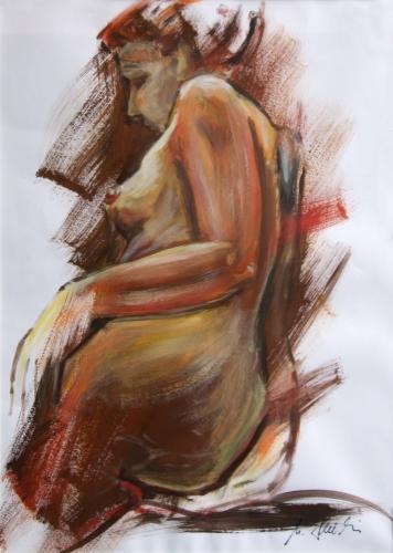 Frauenakt (wild), Acryl auf Papier
