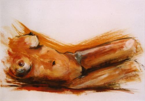 Liegender Akt in orange, Acryl auf Papier