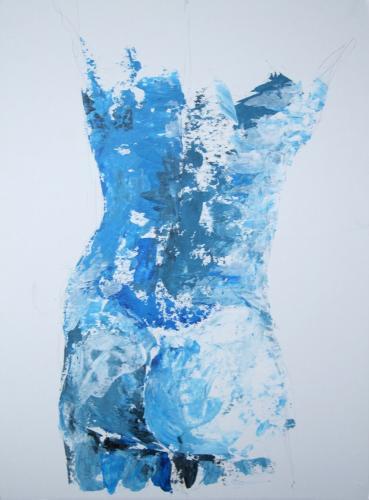 Männlicher Rückenakt, (Torso blau), Acryl auf Karton