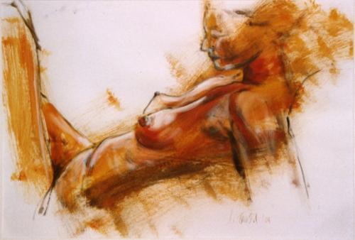 Ruhende Frau, Acryl auf Papier