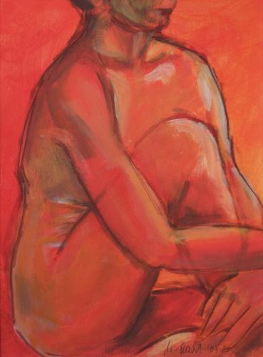 Sitzende Frau in rot (transparent), Acryl auf Papier
