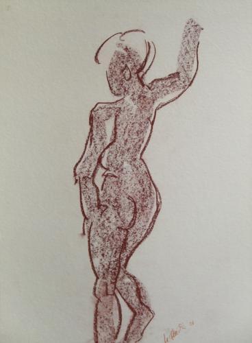 Stehende Frau braun, Kreide auf Papier