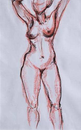 Stehende Frau, Rötel und Kreide auf Papier