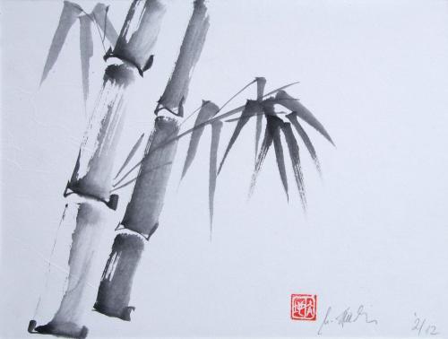 Bambus jap., Japanische Tusche auf Papier