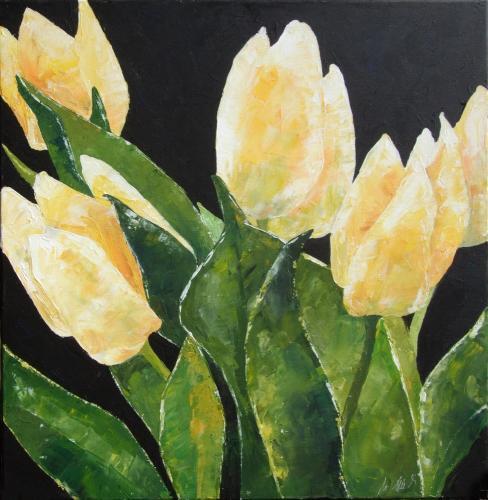 Gelbe Tulpen wild, Acryl auf Leinwand