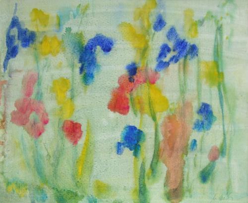 Iris im Regen, Acryl auf Karton