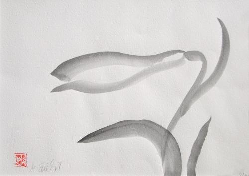 Lilienblüte jap., Japanische Tusche auf Papier