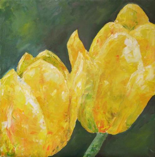 Tulpen gelb, Acryl auf Leinwand