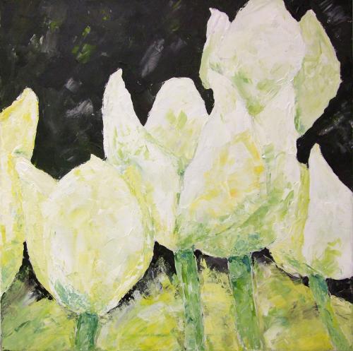 Tulpen weiß, Acryl auf Leinwand (verkauft)