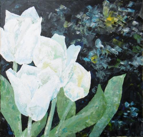 Weiße Tulpen 3, Acryl auf Leinwand