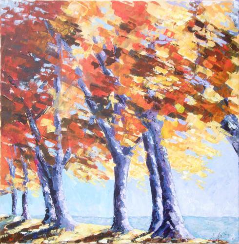 Allee im Herbst, Acryl auf Leinwand