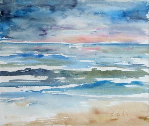 Am Meer (violett), Aquarell