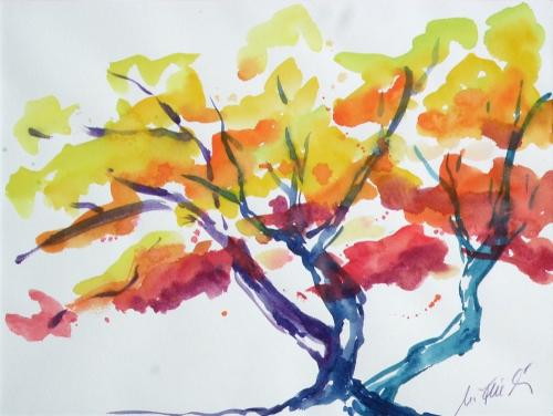 Baum (expressiv), Aquarell