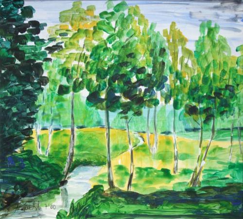 Birkenwald, Acryl auf Karton