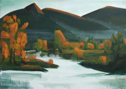 Donau-Landschaft, Acryl auf Leinwand (verkauft)