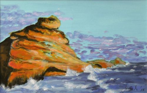 Felsen im Meer, Acryl auf Karton