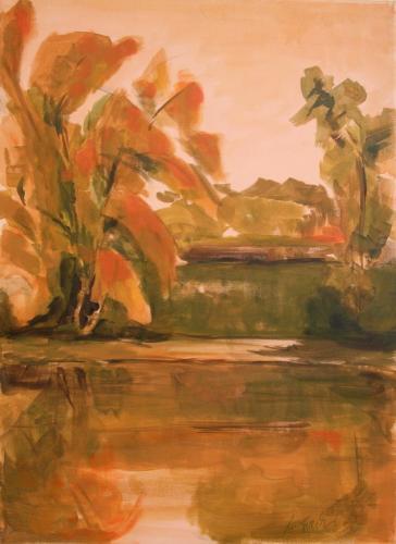 Herbst an der Donau, Acryl auf Leinwand (verkauft)