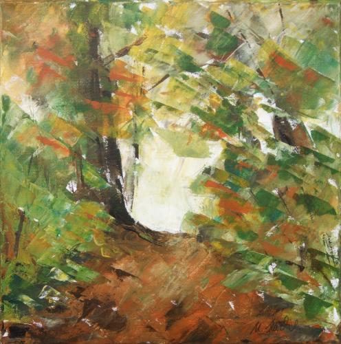 Herbstwald, Acryl auf Leinwand