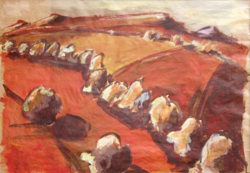 Landschaft rot-braun 2, Acryl auf Papier