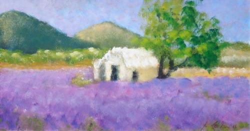 Lavendelfeld, Acryl auf Karton
