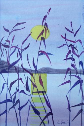 See-Ufer am Abend, Acryl auf Karton