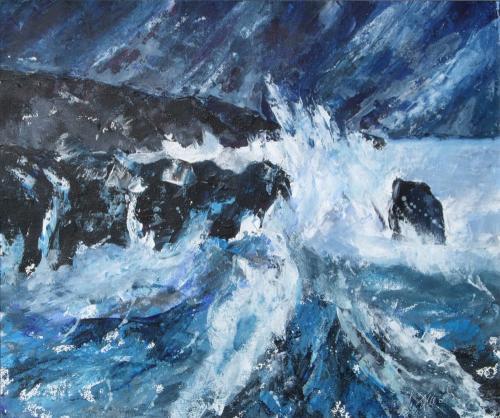 Sturmnacht am Meer, Acryl auf Karton
