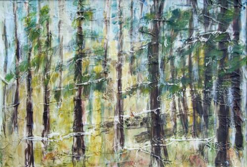 Wald, Acryl und Spachtelmasse auf Karton