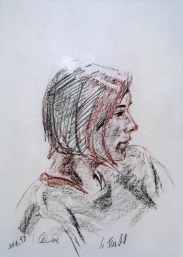 Céline, Kreiden auf Papier