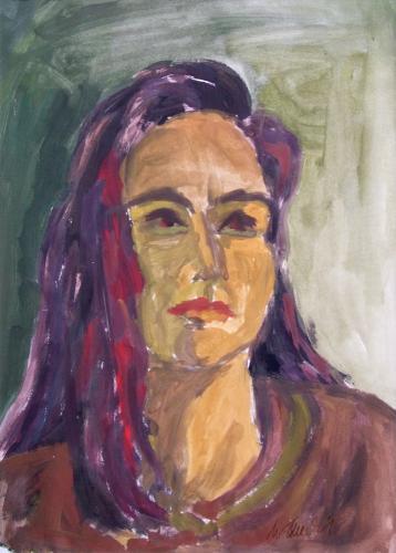 Frauenportrait 3, Acryl auf Papier