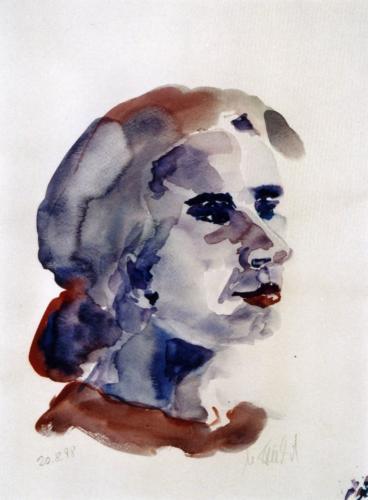 Frauenportrait 2, Aquarell