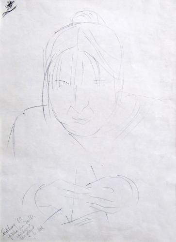 Gisela strickend, Kohlestift auf Papier